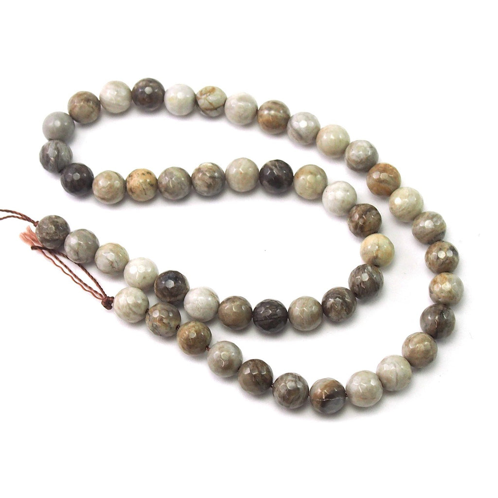 Silver Leaf Jasper Faceted Rounds 8mm Strand