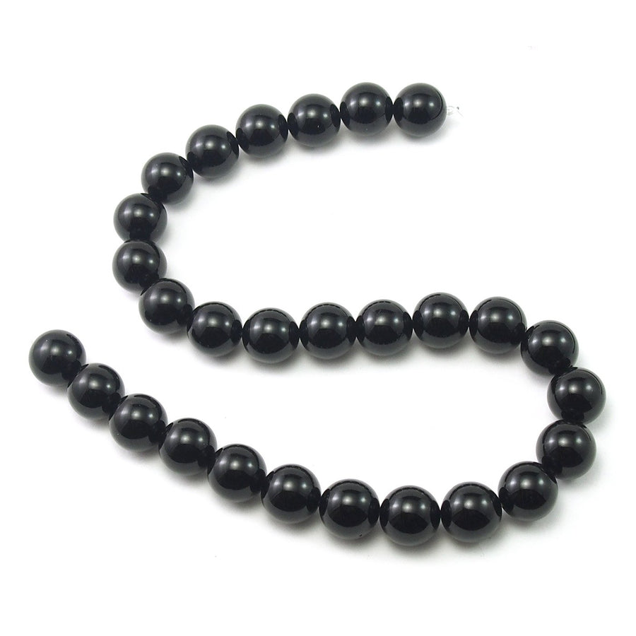 Onyx Black Smooth Rounds 14mm Strand