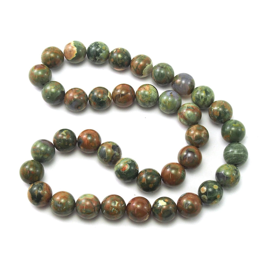 Rainforest Jasper Smooth Rounds 10mm Strand