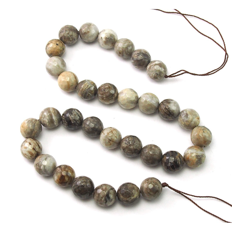 Silver Leaf Jasper Faceted Rounds 12mm Strand