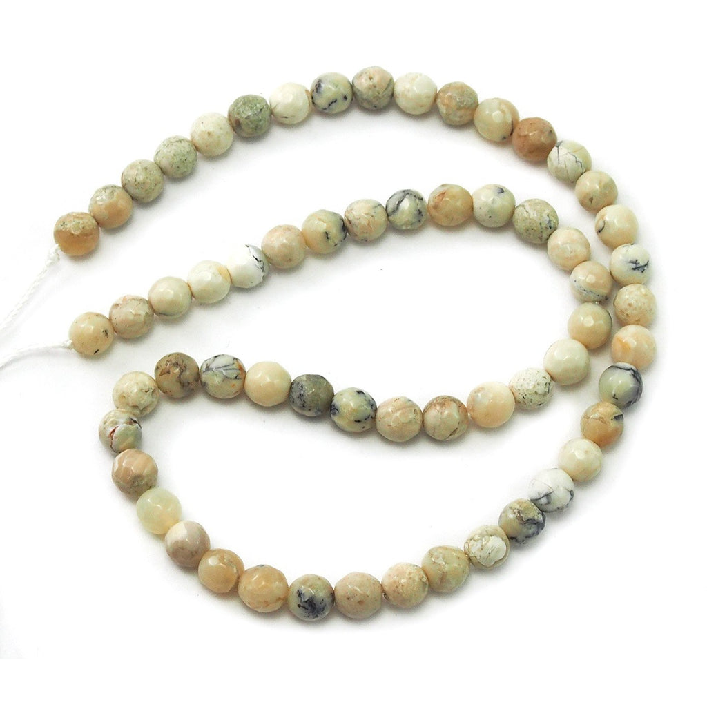 African Opal White Faceted Rounds 6mm Strand