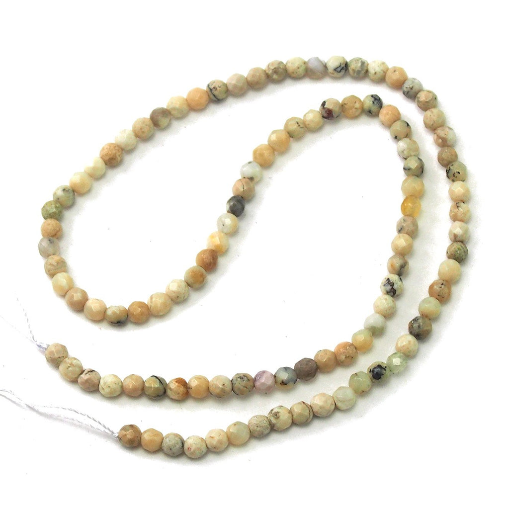 African Opal White Faceted Rounds 4mm Strand