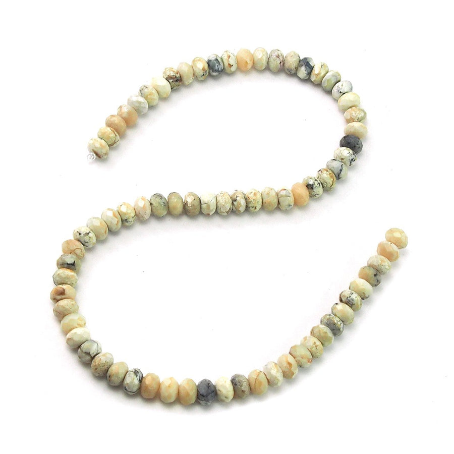 African Opal White Faceted Rondelles 8mm Strand