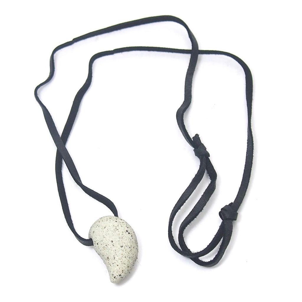 Ceramic/Sacred Ash Magatama Necklace, B