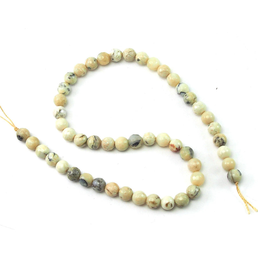 African Opal White Faceted Rounds 8mm Strand