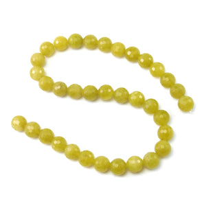 Jade Olive Faceted Rounds 12mm Strand