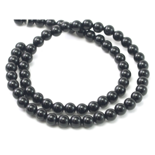 Onyx Black Smooth Rounds 6mm Strand