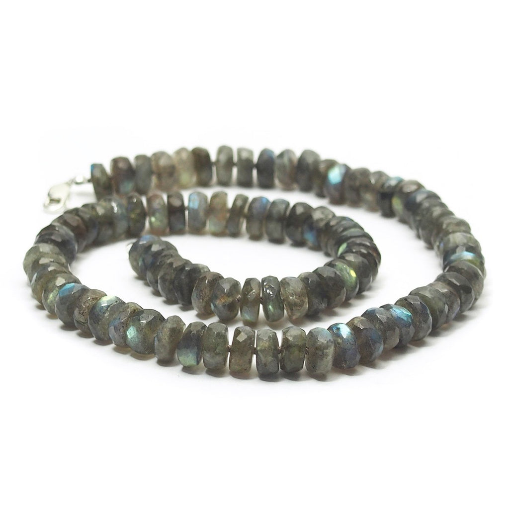 Labradorite Knotted Necklace with Sterling Silver Lobster Claw Clasp