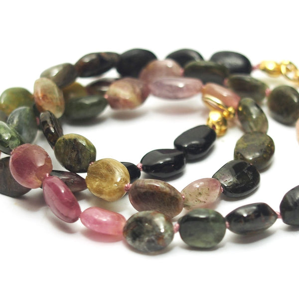 Watermelon Tourmaline Knotted Necklace with Gold Filled Trigger Clasp