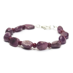 Ruby Bracelet with Sterling Silver Trigger Clasp