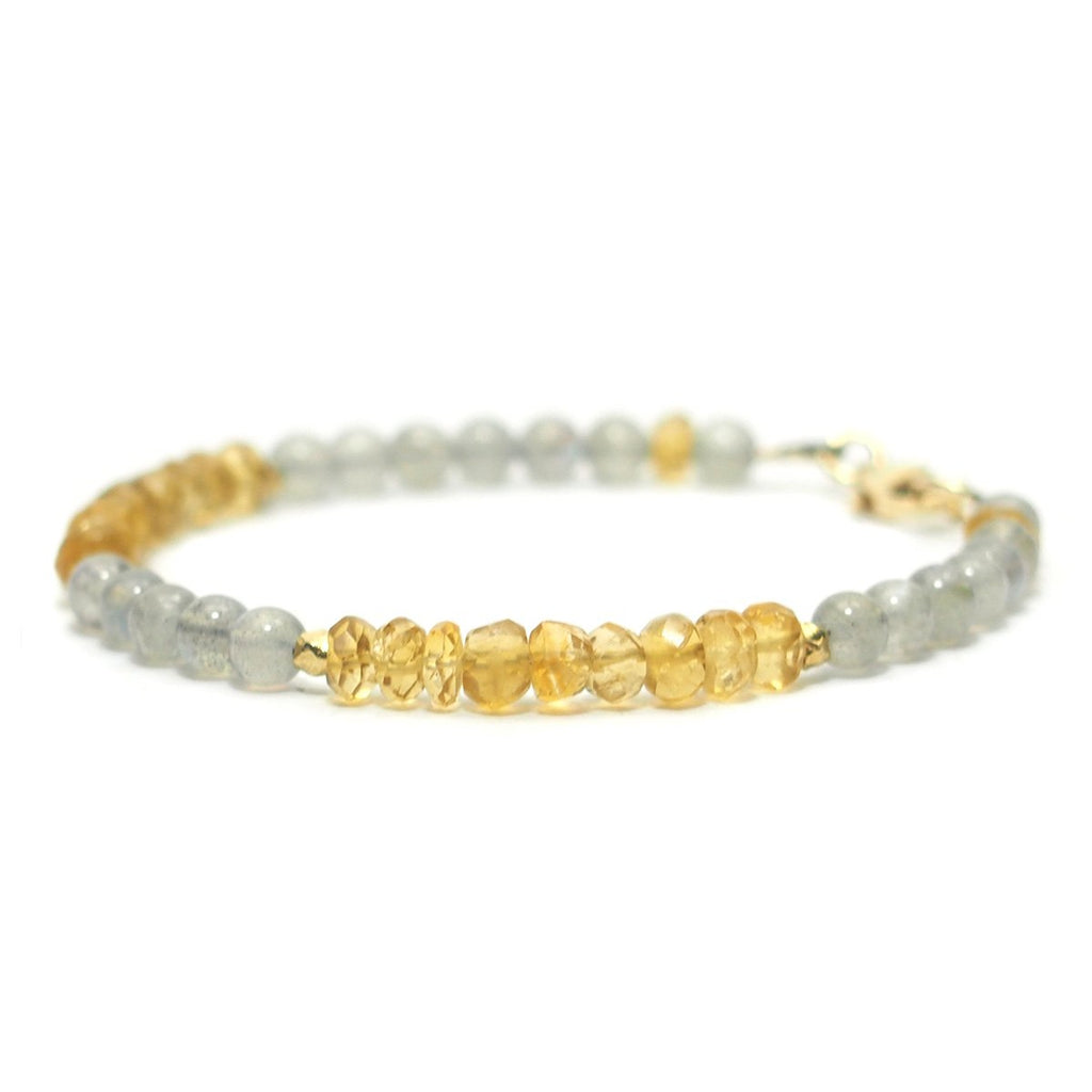Labradorite and Citrine Bracelet with Gold Filled Trigger Clasp