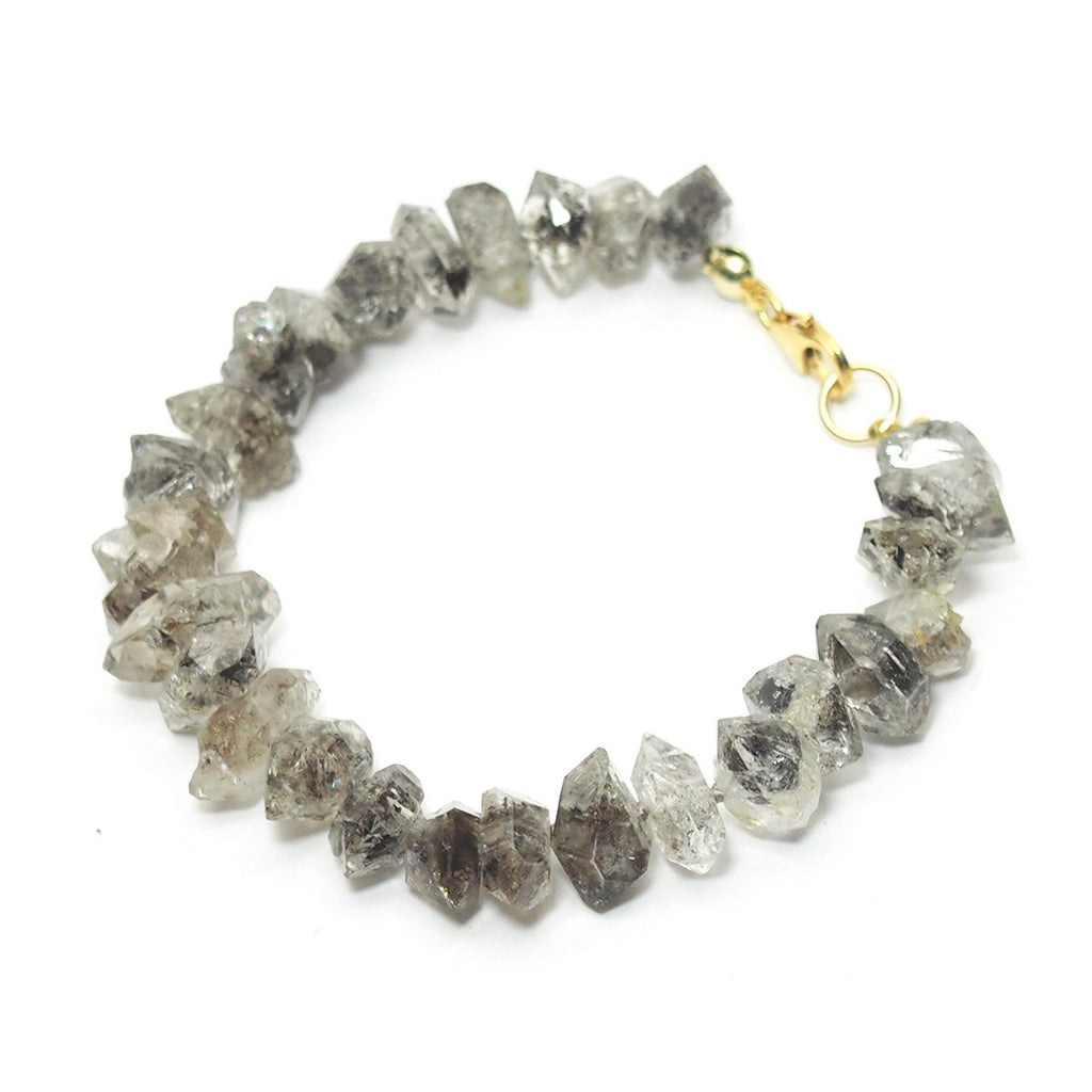 Herkimer Diamond Faceted Nugget Knotted Bracelet with Gold Filled Trigger Clasp
