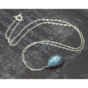 Labradorite Necklace On Sterling Silver Chain With Sterling Silver Spring Clasp