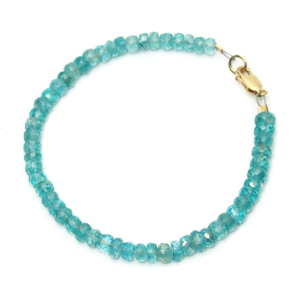 Apatite Faceted Bracelet with Gold Filled Lobster Claw Clasp