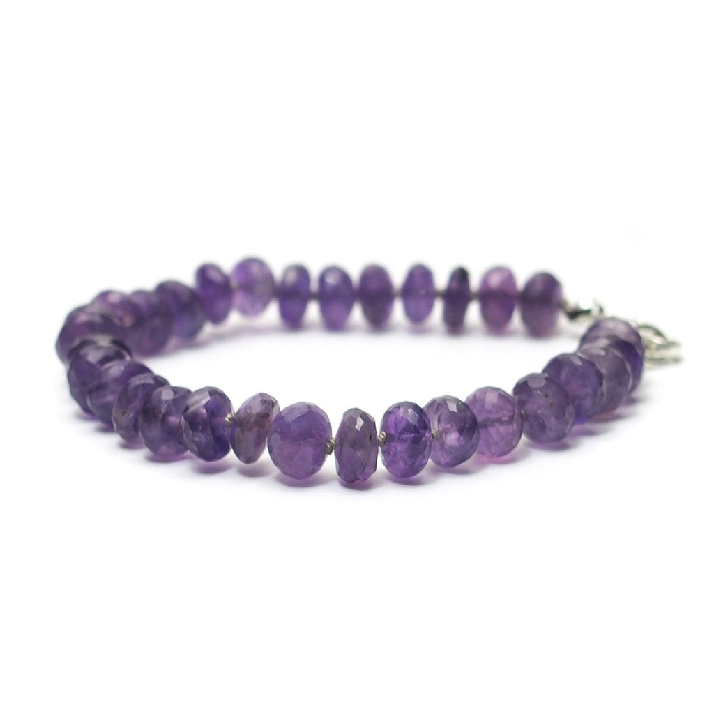 Amethyst Knotted Bracelet with Sterling Silver Lobster Claw Clasp