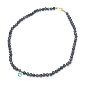 Labradorite Knotted Necklace and Blue Topaz Drop with Gold Filled Trigger Clasp