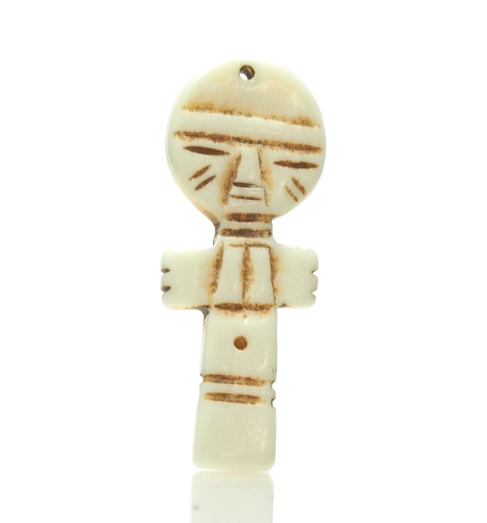 Akuaba Fertility Figure Hand Carved Cow Bone Pendant 1