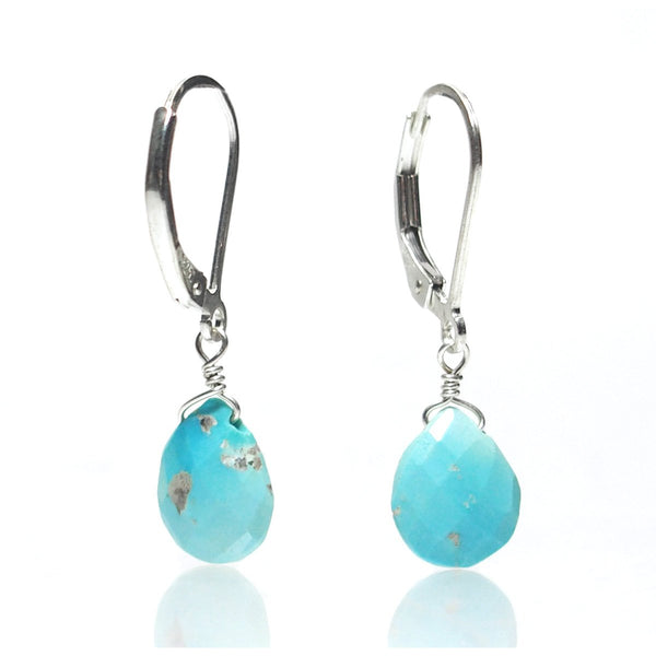 Turquoise (Sleeping Beauty) Drop Earrings with Sterling Silver Leverback Ear Wires