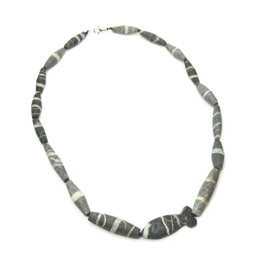 Natural Marble Dzi Style Bead Necklace, A