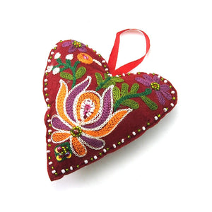 Embroidered Fabric Heart Ornament