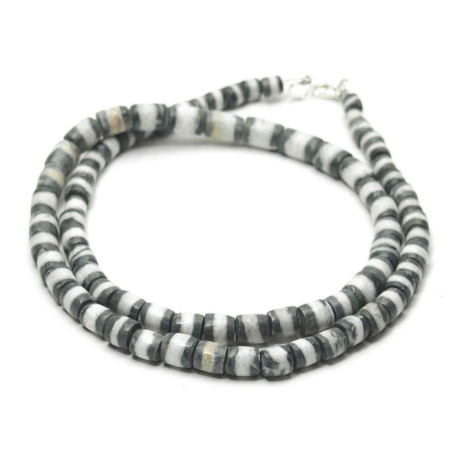 Natural Marble Dzi Style Bead Necklace, B