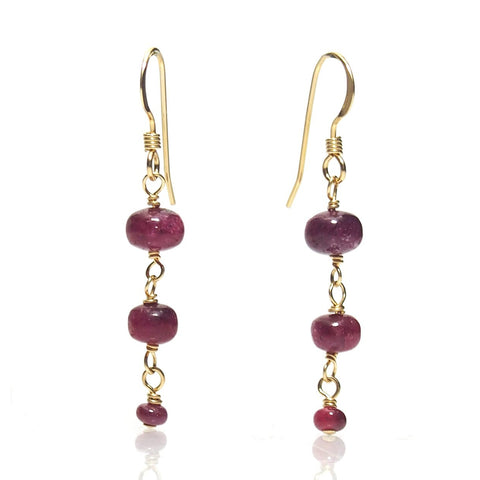Ruby Cascading Earrings with Gold Filled Ear Wires