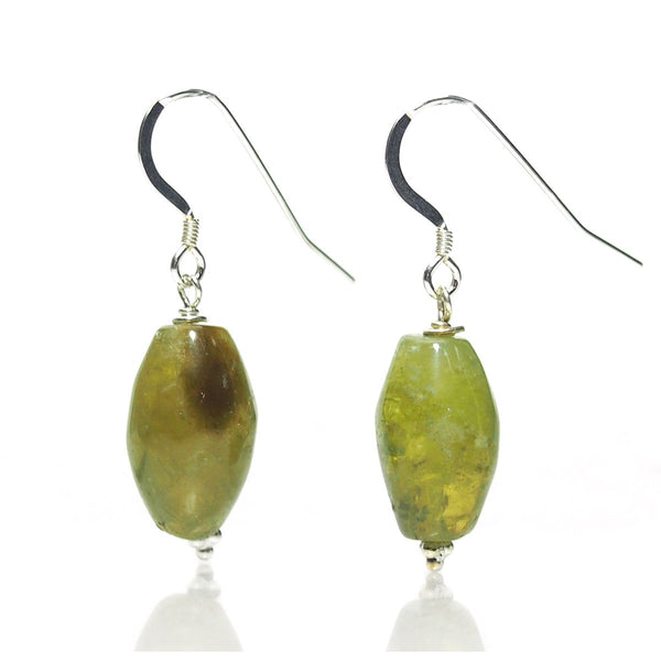 Green Garnet Earrings with Sterling Silver French Ear Wires