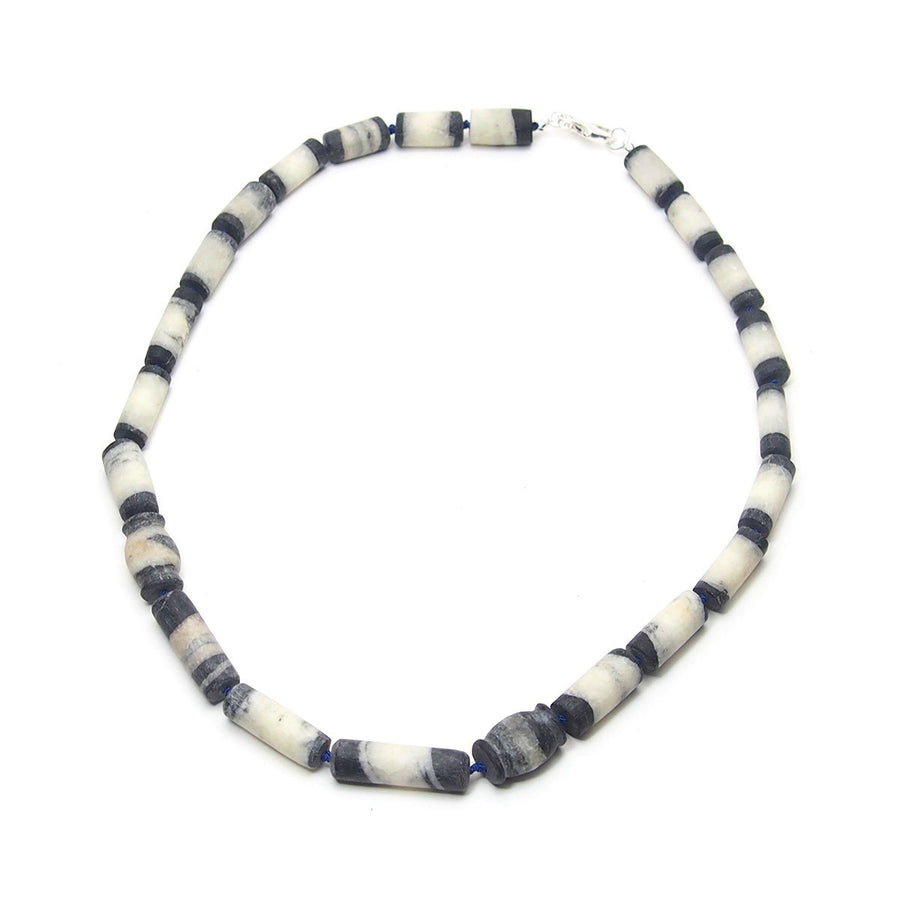 Natural Marble Dzi Style Bead Necklace, D