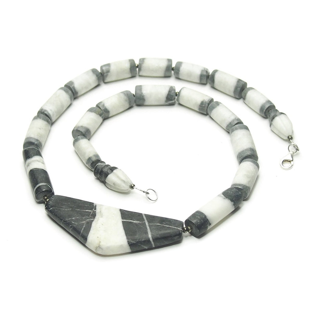 Natural Marble Dzi Style Bead Necklace, E