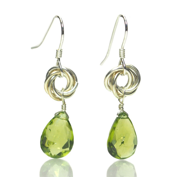Peridot Faceted Drop Earrings with Sterling Silver Ear Wires