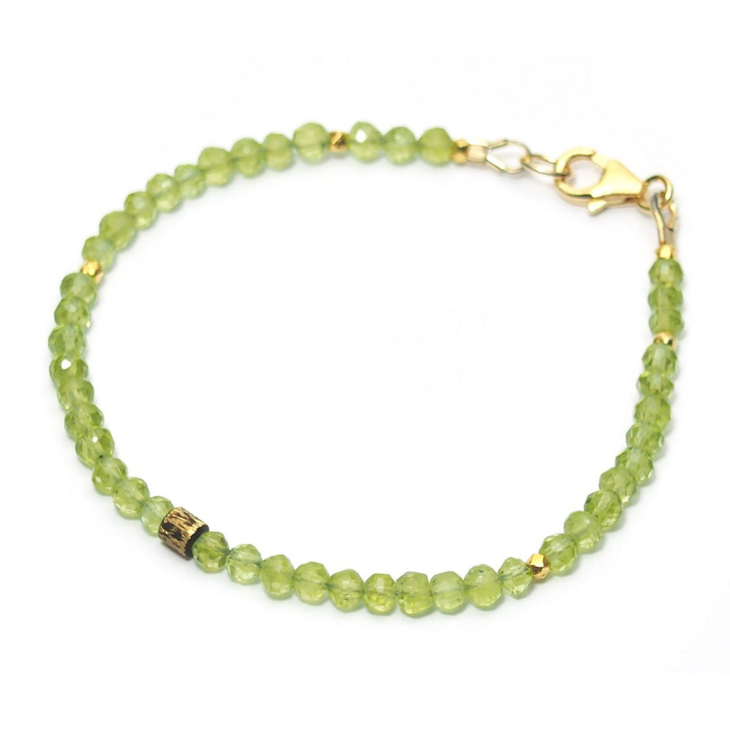 Peridot Faceted Bracelet with Gold Filled Trigger Clasp