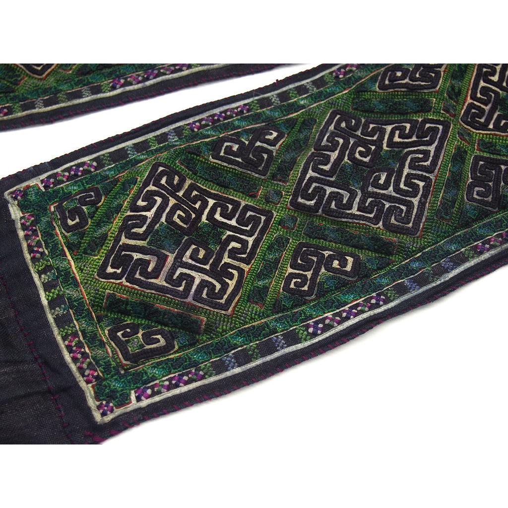 Vintage Hmong Cotton Hand-Embroidered Indigo Belt