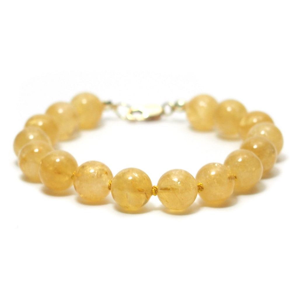 Citrine Knotted Bracelet with Gold Filled Lobster Claw Clasp