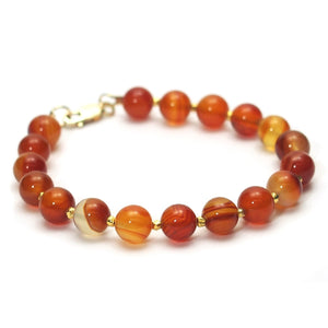 Carnelian Bracelet with Gold Vermeil Accent Beads and Gold Filled Lobster Claw Clasp