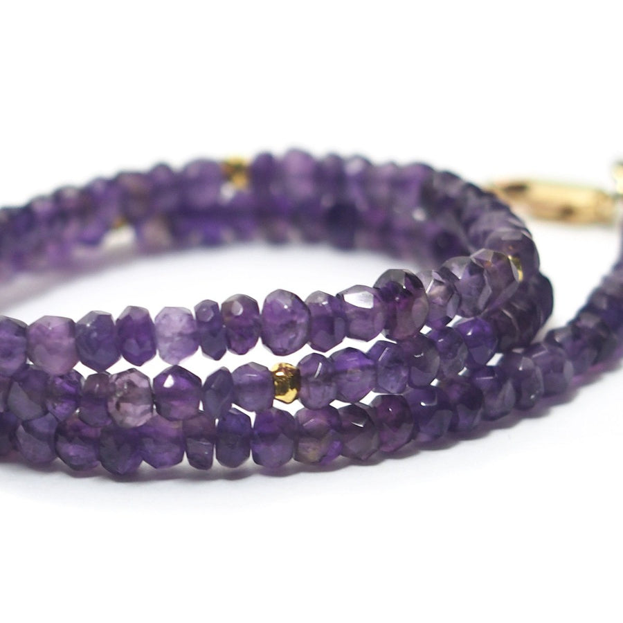 Amethyst Faceted Rondelle Choker Faceted with Gold Filled Lobster Claw Clasp