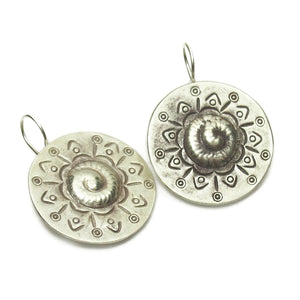Sterling Silver Serpent Shield Hilltribe Earrings