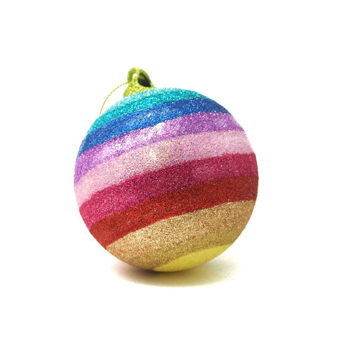 Glitter Rainbow Ball Ornament
