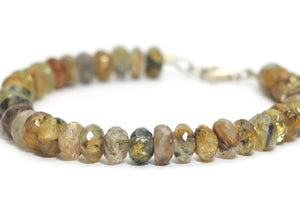 Rutilated Quartz Faceted Bracelet with Sterling Silver Trigger Clasp