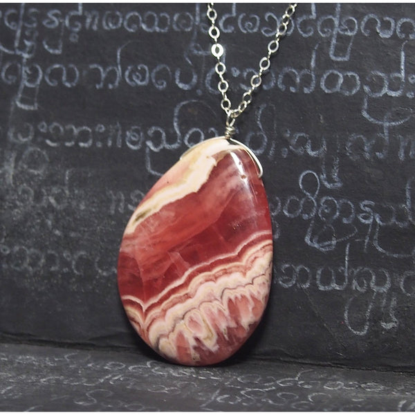 Rhodochrosite Pendant Necklace On Sterling Silver Chain With Sterling Silver Trigger Clasp
