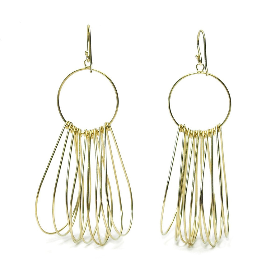 Gold Vermeil over Sterling Silver Multi Teardrop Hoop Earrings