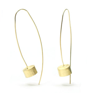 Gold Vermeil over Sterling Silver Brushed Pole/Open Can Earrings
