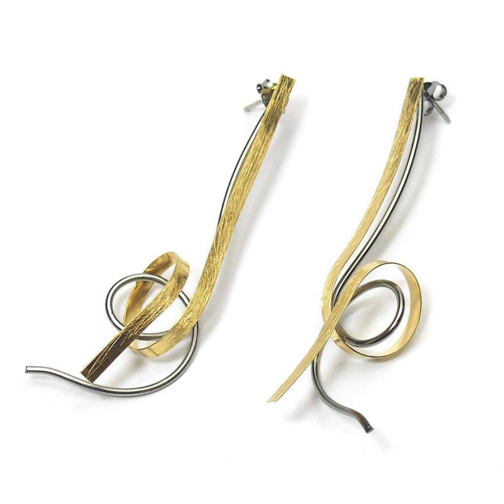Gold Vermeil over Sterling Silver Abstract Long Post Earrings