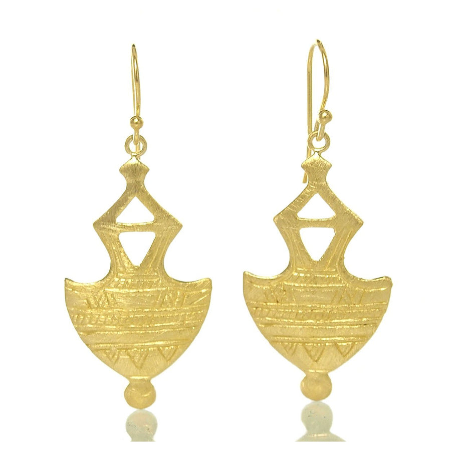 Gold Vermeil over Sterling Silver Brushed Tuareg Inspired Earrings