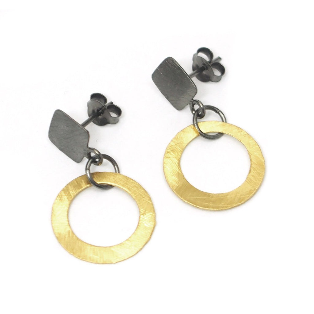 Gold Vermeil and Sterling Silver Flat Circle Earrings with Posts