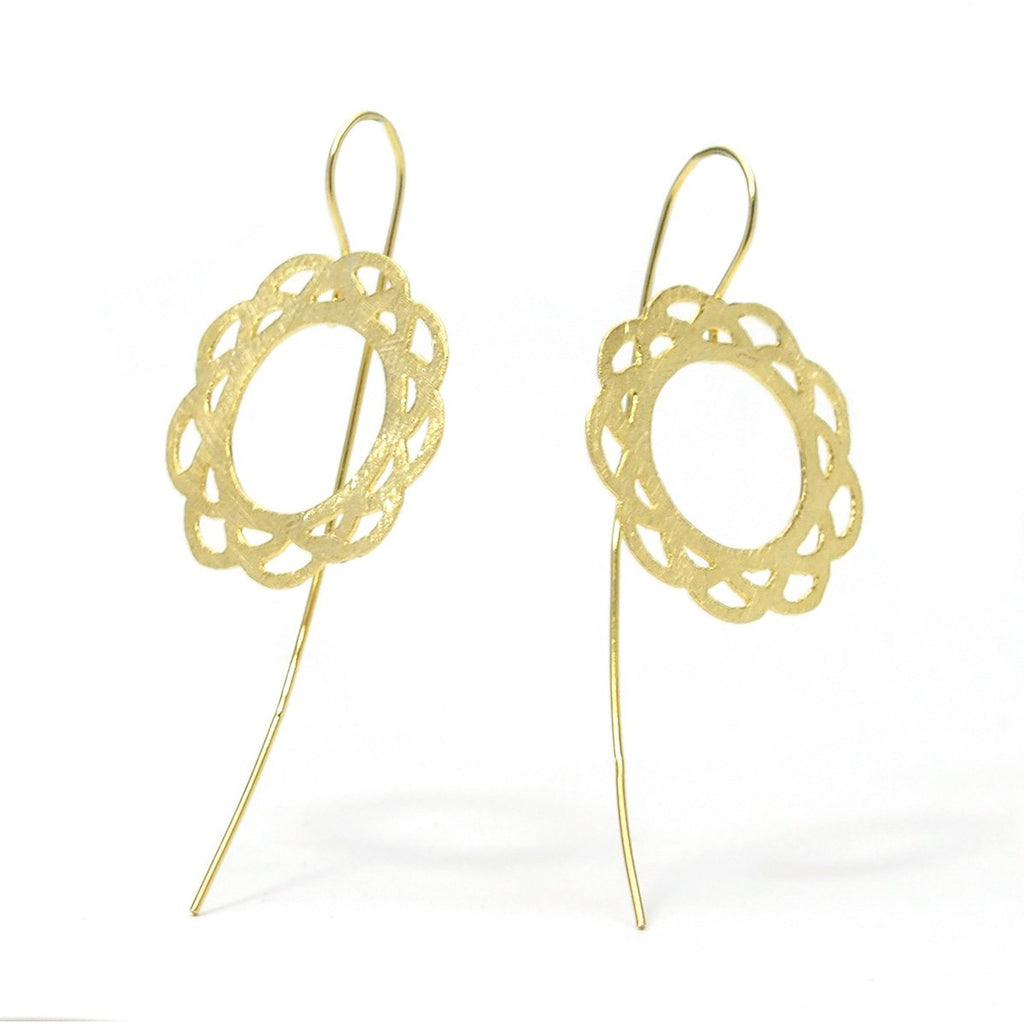 Gold Vermeil over Sterling Silver Cutout Flower Earrings