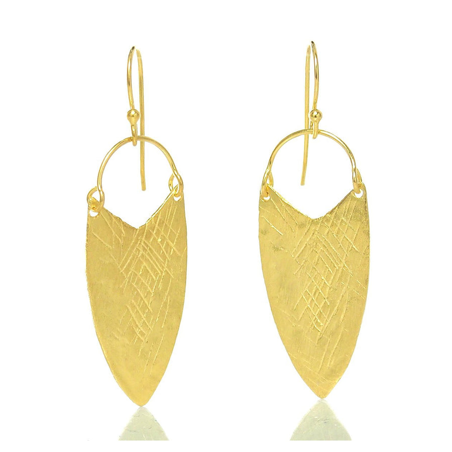 Gold Vermeil over Sterling Silver Brushed/Etched Earrings