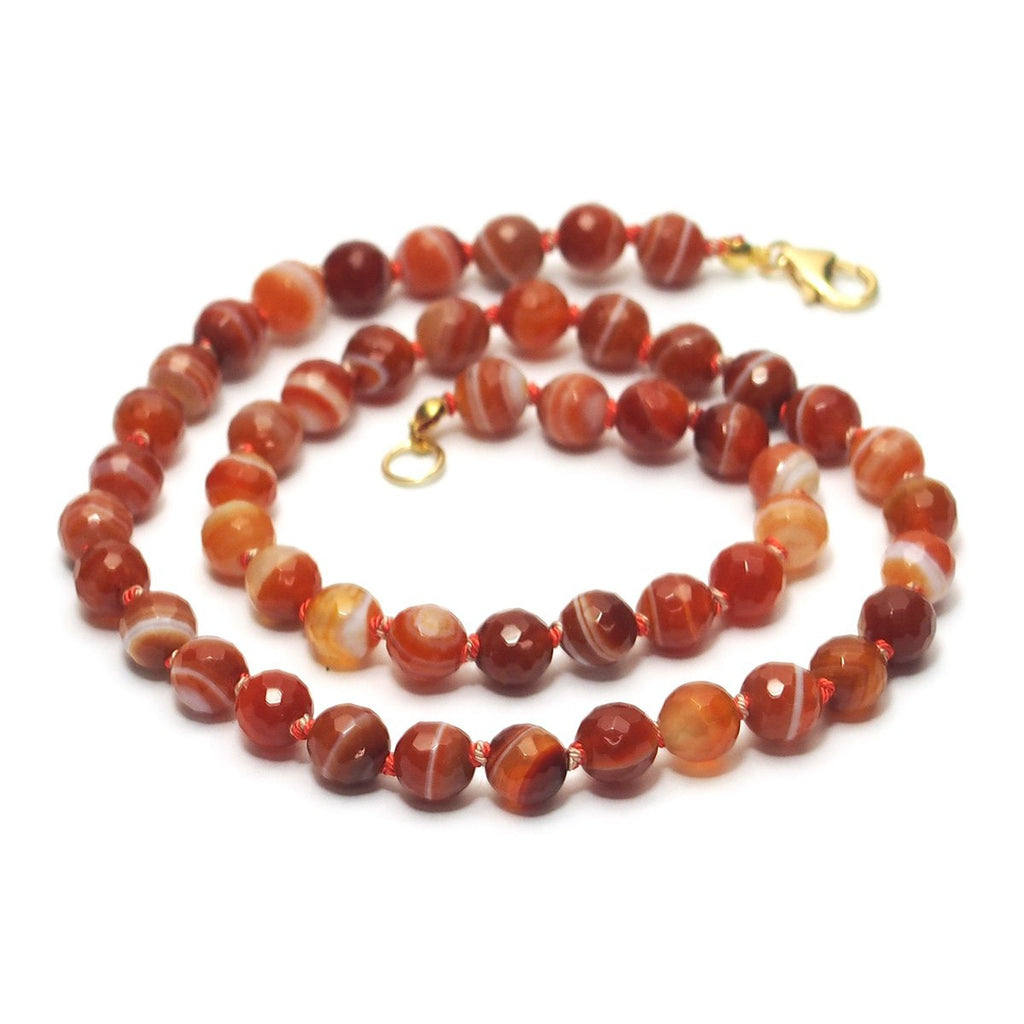 Carnelian Faceted Knotted Necklace with Gold Filled Trigger Clasp