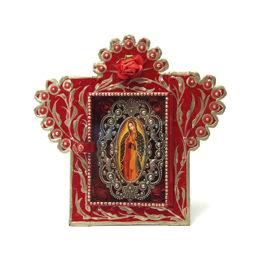 Virgin of Guadalupe with Red Flower Nicho