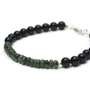Emerald and Black Onyx Bracelet with Sterling Silver Lobster Claw Clasp