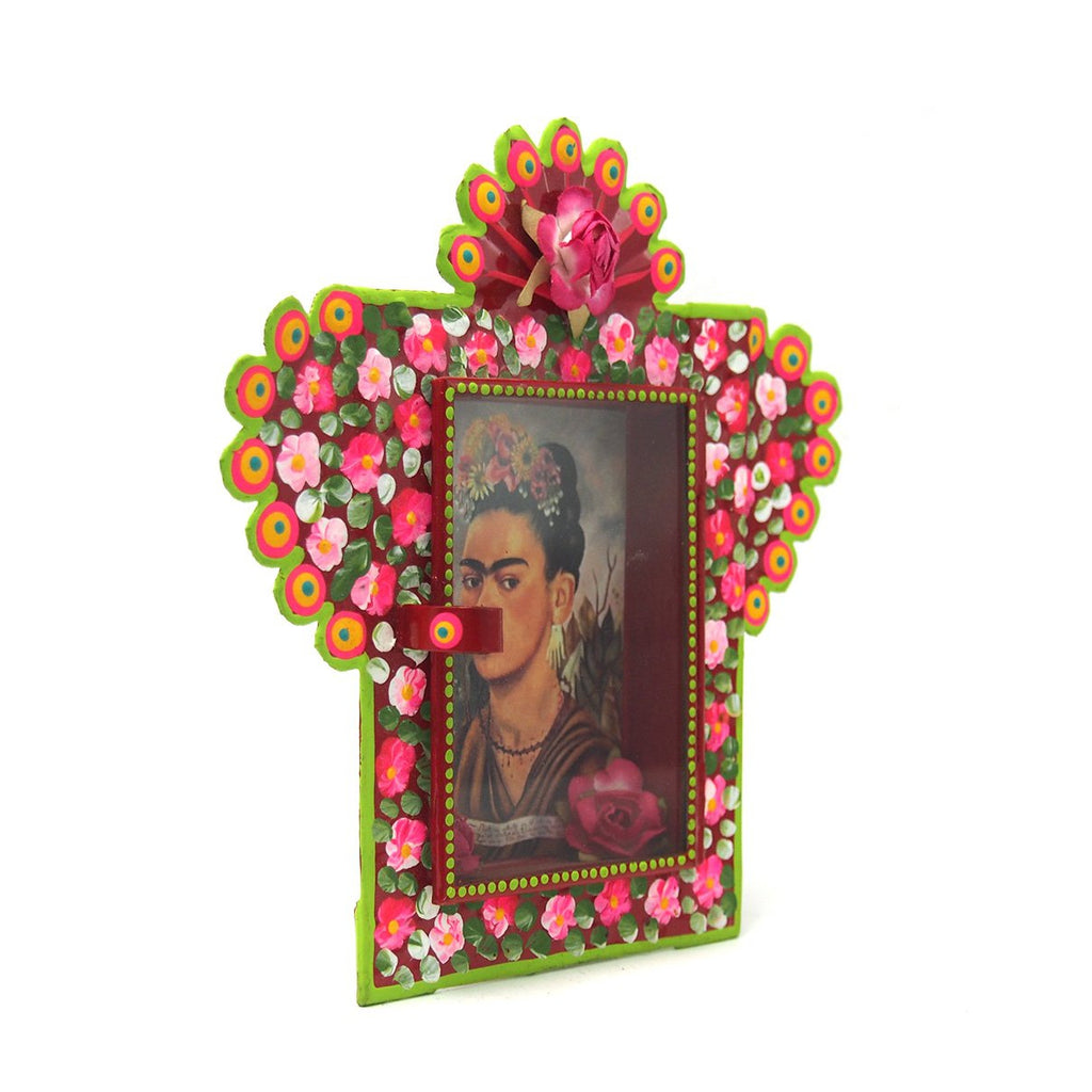 Frida with Red Flower Nicho